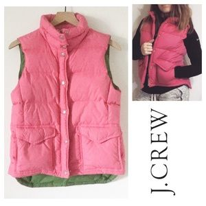 J. Crew Pink Down Puffer Vest Green Lining MEDIUM